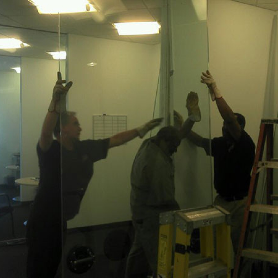 Custom Glass Wall For A Business Near Atlanta, Roswell and Sandy Springs, GA