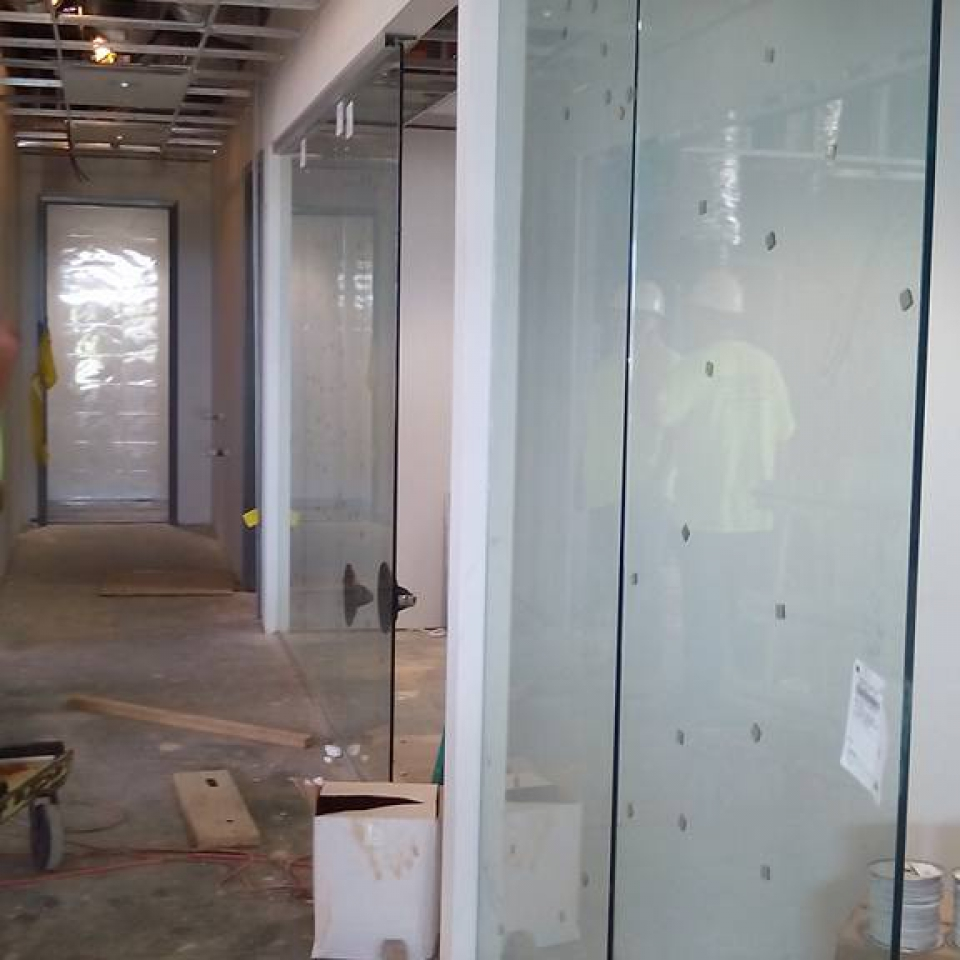 Custom Glass Wall Installed In A Business Near Atlanta, Roswell and Sandy Springs Georgia