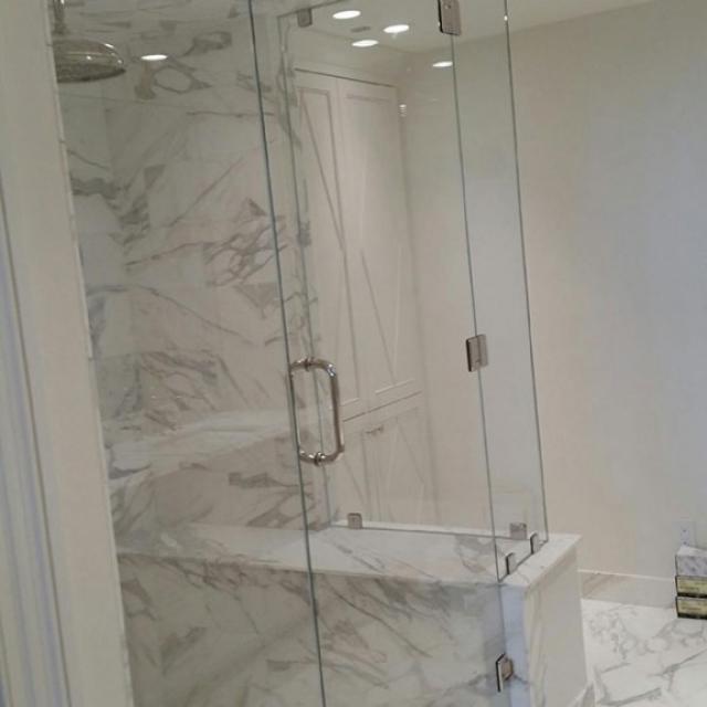 Corner Shower Door And Enclosure With Frameless Glass Near Metro Atlanta, Georgia