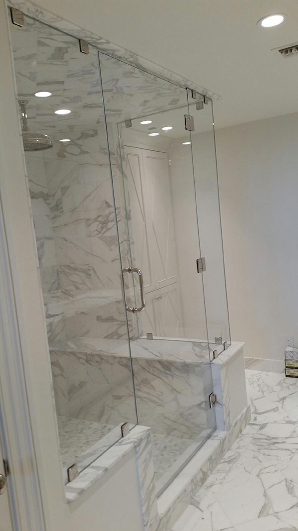 corner shower door and enclosure with frameless glass near metro atlanta