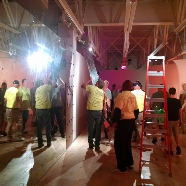 Installing Glass Mirror Walls In A Store Near Atlanta, Roswell and Sandy Springs, Georgia