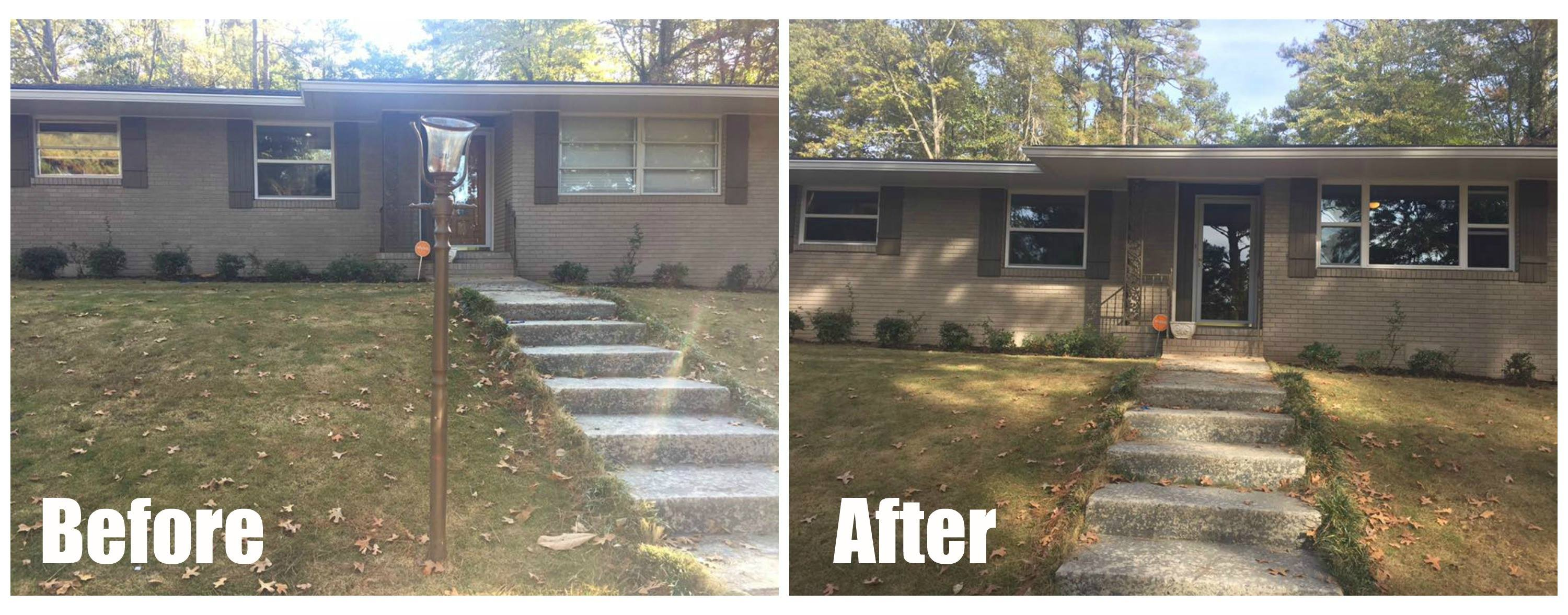 This is a before and after photo of a residential glass project done by the Glass Whisperer.